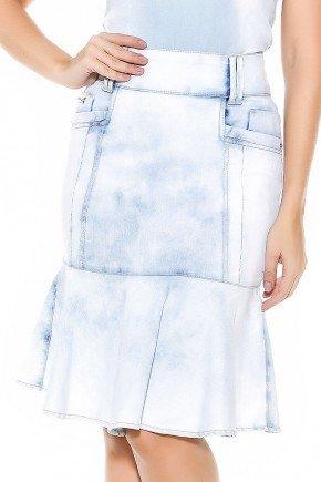 saia sino clara cintura alta com recortes imperio jeans frente baixo