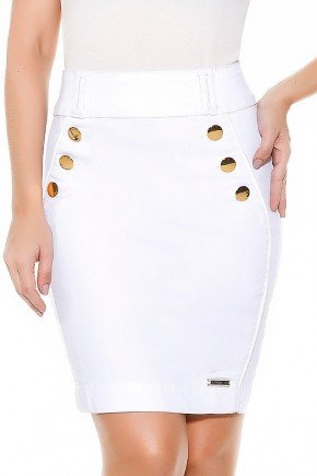 saia branca detalhe recortes e botoes frontais imperio jeans frente baixo
