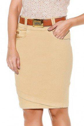 saia bege recortes na barra imperio jeans frente baixo