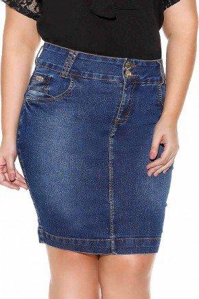 saia jeans costuras pontilhadas nos bolsos imperio jeans frente baixo