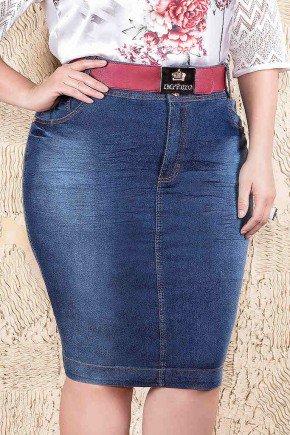 saia plus size pregas nos bolsos imperio jeans frente baixo
