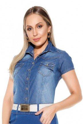 camisa feminina jeans mangas curtas imperio jeans frente