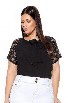 blusa preta gola laco mangas em guippir imperio jeans frente cima