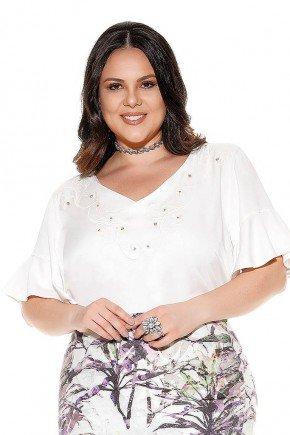blusa off white bordada com babados imperio jeans frente