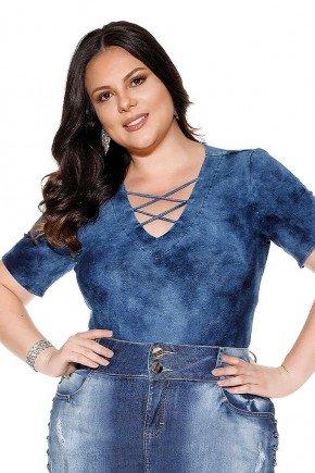 blusa marinho detalhe tiras no decote imperio jeans frente