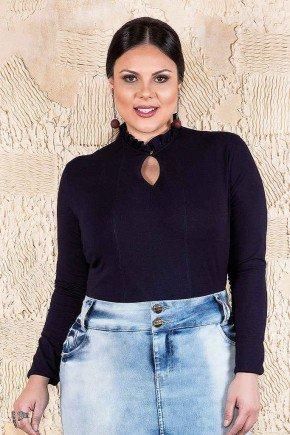 blusa marinho gola alta mangas longas imperio jeans frente