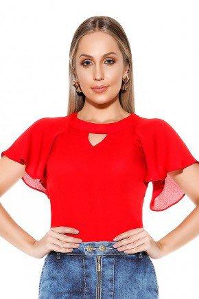 blusa vermelha babados nas mangas imperio jeans frente