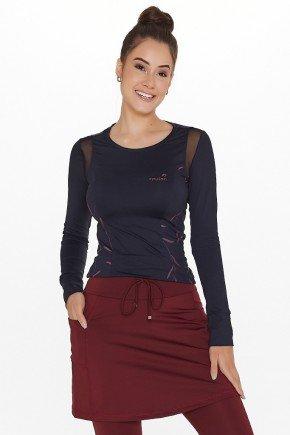 blusa fitness manga longa preta estampada poliamida uv50 epulari ep065 frente cima