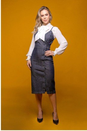 vestido tubo jeans transpassado via tolentino frente