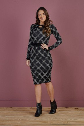 vestido tubinho preto xadrez edilene tata martello frente