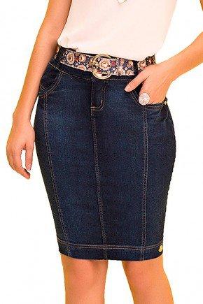 saia jeans reta recortes azul laura rosa frente