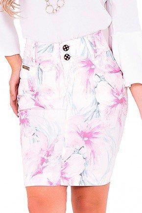 saia sarja estampa floral branca laura rosa frente