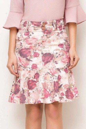 saia sino floral cintura alta laura rosa frente baixo
