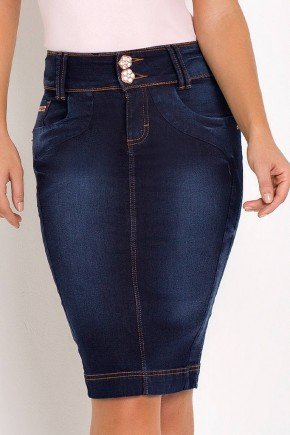saia feminina jeans lapis midi laura rosa baixo