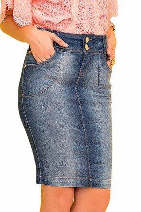 saia jeans tradicional com bolso faca laura rosa frente