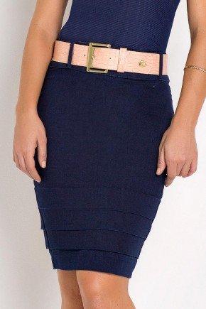 saia jeans azul marinho reta com pregas laura rosa frente baixo