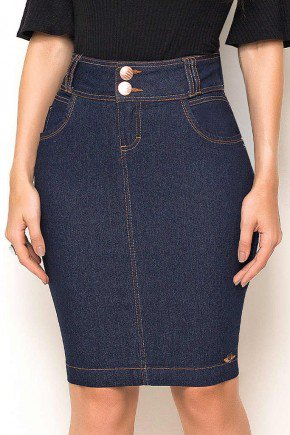 saia jeans costuras aparentes duplas laura rosa frente baixo