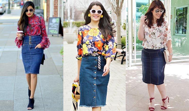 post blog looks blusa floral com saia jeans