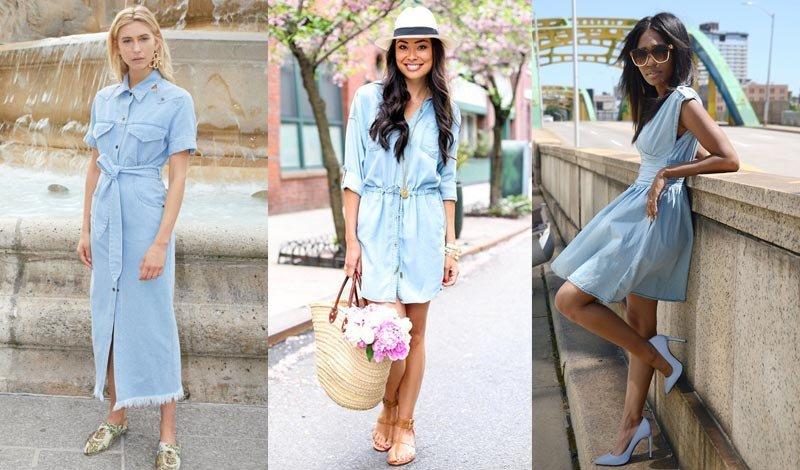 post blog looks vestido jeans claro