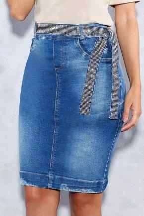 saia reta com puidos cinto com strass titanium jeans frente baixo