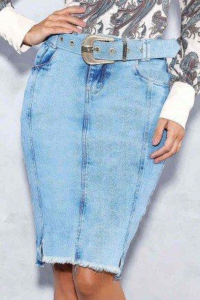 saia jeans barra desfeita com cinto titanium frente baixo