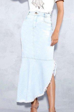 saia jeans clara barrado assimetrico titanium frente baixo