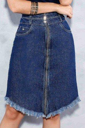 saia evase jeans ziper frontal barra desfiada titanium frente baixo