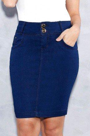 saia azul pregas nos bolsos titanium jeans frente baixo