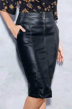 saia lapis preta em courino titanium jeans frente baixo