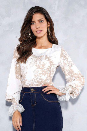 blusa estampada mangas longas com guippir titanium jeans frente cima