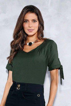 blusa verde bordada com amarracao nas mangas titanium frente cima