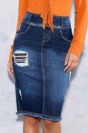 saia jeans destroyed barra desfiada titanium frente baixo