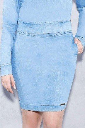 saia teen clara com bolsos titanium jeans frente baixo