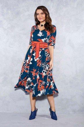 vestido marinho floral gode titanium jeans frente