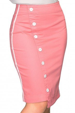 saia secretaria com botoes e galao lateral dyork jeans rosa