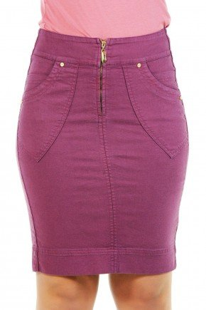 saia secretaria roxa lapis bolsos sobrepostos dyork jeans