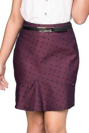 saia feminina curta modelagem sino com estampa em poa dyork