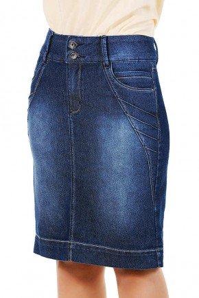 saia midi jeans escuro detalhe recortes com nervuras dyork frente