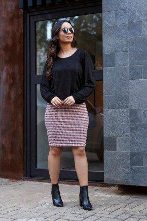 vestido alessandra cor preto com xadrez jany pim