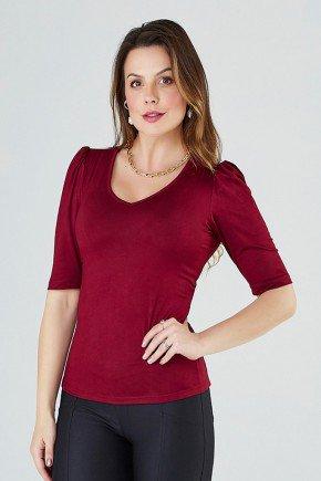blusa feminina mangas curtas sarah cloa frente vinho cima