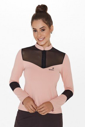 blusa rose manga longa poliamida protecao uv050 epulari frente