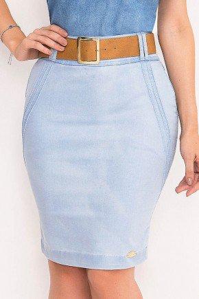 saia jeans clara com cinto laura rosa frente baixo