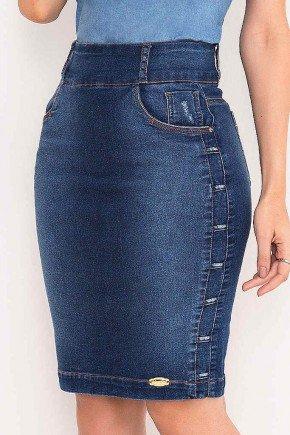 saia jeans detalhes passantes nas laterais laura rosa frente baixo