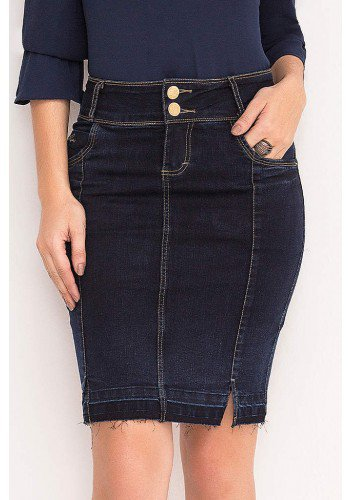 saia jeans marinho barra desfeita laura rosa frente baixo
