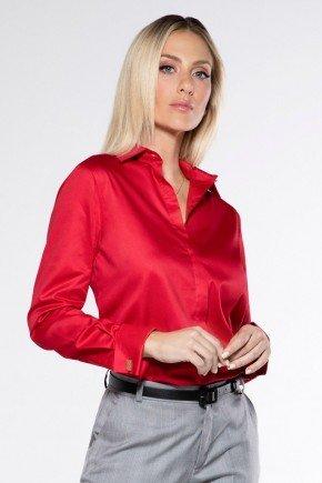 camisa vermelha social com abotoadura maristela