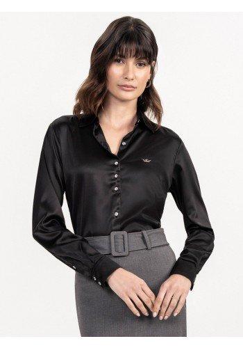 camisa preta de cetim cinthia frente