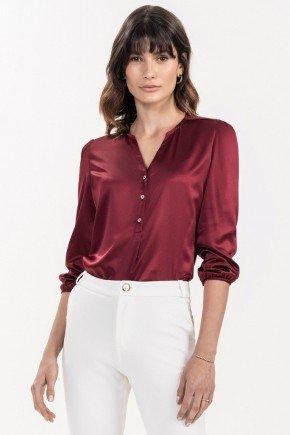 blusa bordo manga 7 8 erlane frente