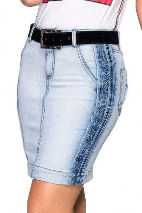 saia jeans bordados e desfiados laterais dyork frente baixo
