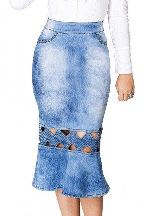 saia com bordado industrial dyork jeans frente baixo