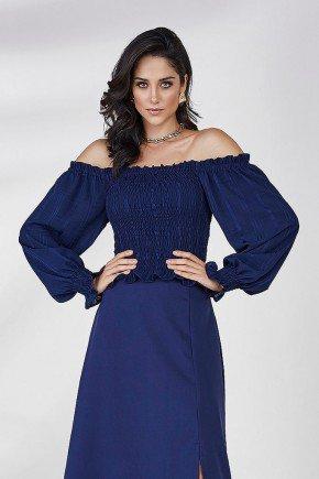 blusa azul ombro a ombro selena cloa frente cima